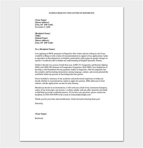 Exle Of Formal Letter Of Request by Formal Reference Letter Format 6 Sle Letters