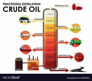 Diagram Showing Fractional Distillation Crude Oil Vector