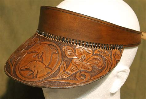 shop hand crafted leather peak cap sun visor floral