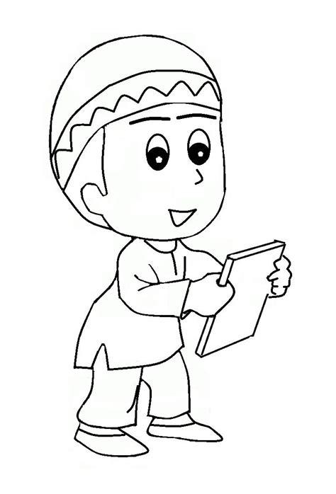 mewarnai gambar kartun anak muslim azhan co