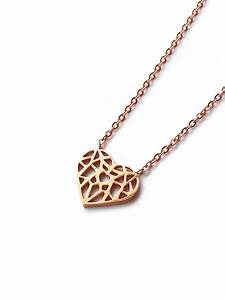 (Stainless Steel) Origami Heart Necklace in Rose Gold ...