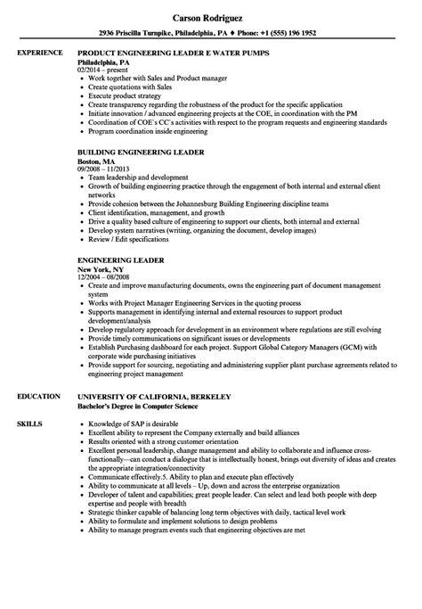 Activities Resume Template by Engineering Leader Resume Sles Velvet