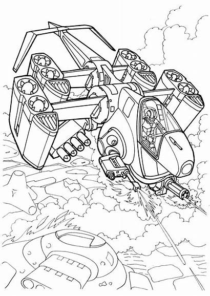 Coloring Pages Space Ship Wars Futuristic Boys