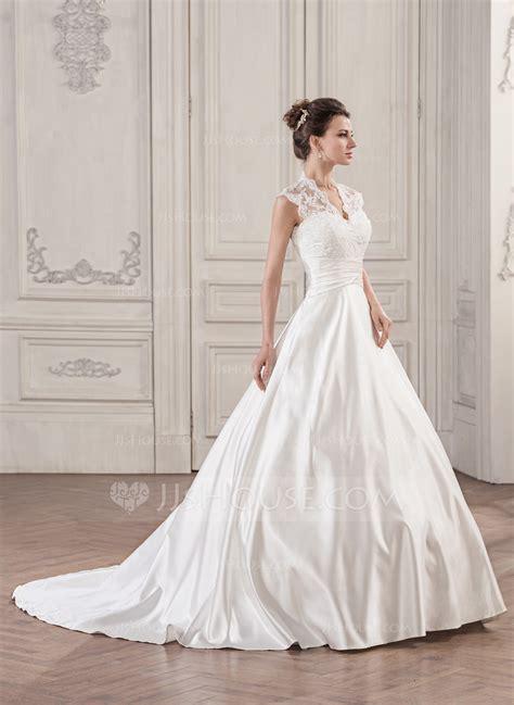 med si鑒e ballkjole v hals bane tog satin blonder brudekjole med frynse 002059189 brudekjoler jjshouse
