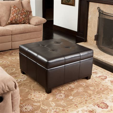 Still, it is worth a shot, especially if the ottoman is oversized. Boston Espresso Brown Tufted Leather Storage Ottoman Coffee Table - GDF Studio