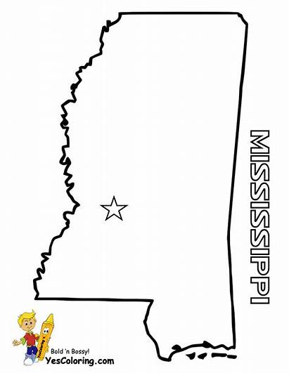 Mississippi State Coloring Map Pages Maps Outline