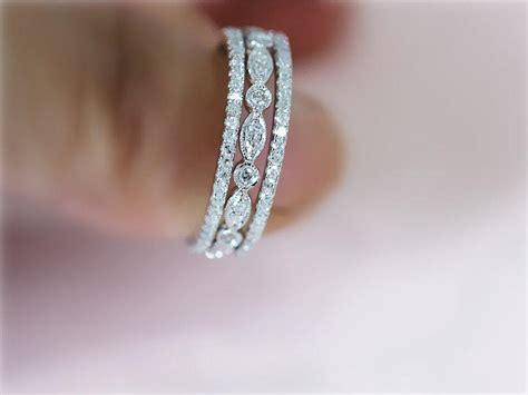 ring set  white gold ring wedding band  matching