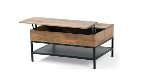 lomond lift top coffee table with storage mango wood and black made
