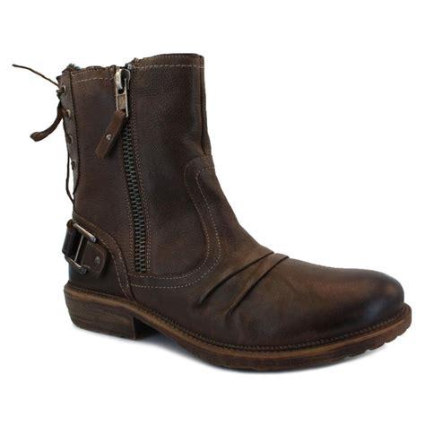mens biker shoes mustang 4834 603 32 mens zip synthetic leather biker boots