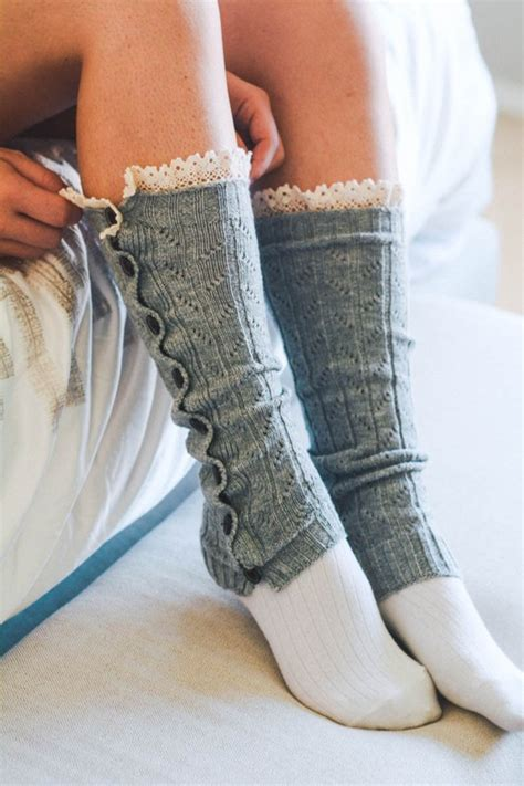 button  knit leg warmers  crochet top