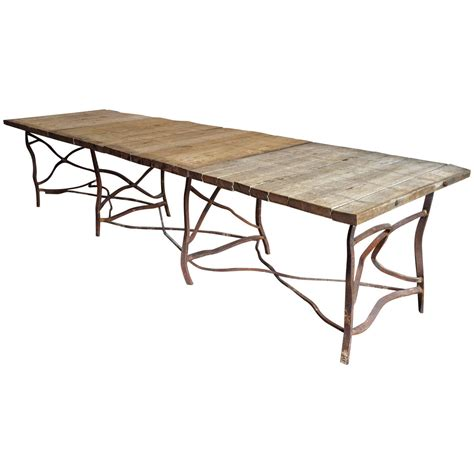 Extra Long Rusty Base French Table At 1stdibs