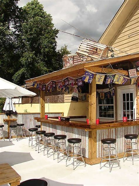 Outdoor Bar With Corrugated Metal Siding