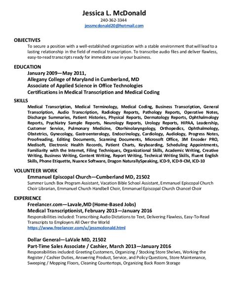 Transcription Resumes Exles by Transcriptionist Resume