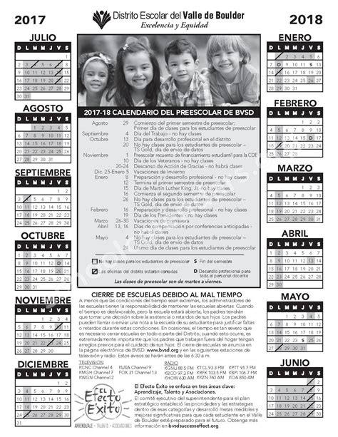 calendario del preescolar boulder valley school district