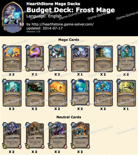 Hearthstone Decks Mage Freeze by Budget Deck Mage