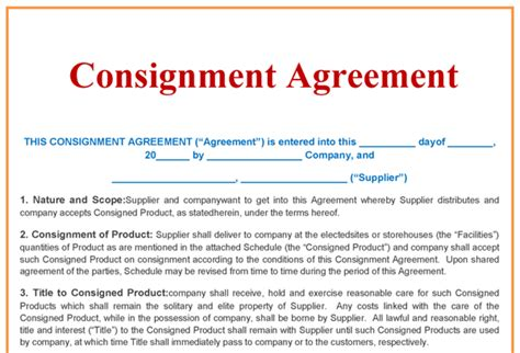 consignment contract template consignment agreement template