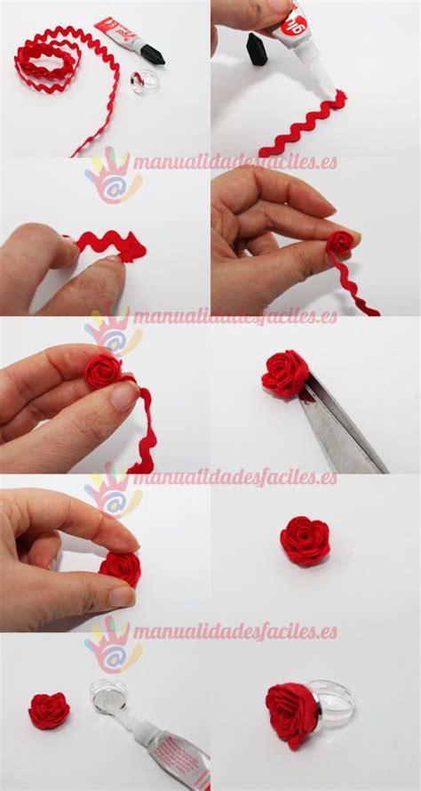 tuto anillo rosa Anillos de rosa Hacer flores con cintas