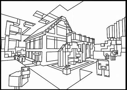 Minecraft Coloring Pages Printable Cabin Village Drawing