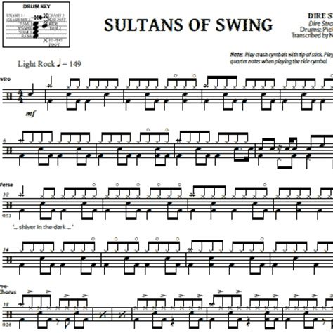 sultans of swing drums partition batterie sultan of swing