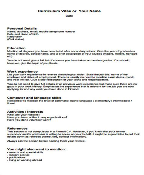 Basic Cv by 30 Cv Format Templates Free Premium Templates