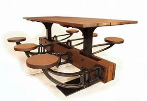Industrial, Swing-out-seat, Outdoor, Dining, Table
