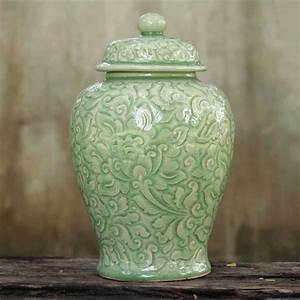 Shop Handmade Celadon Ceramic 39Botanical Dream39 Jar