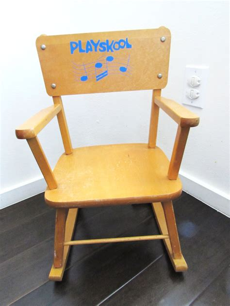 Rocking Recliner Chair For Nursery by Playskool Vintage Musical Wood Childs Rocking Chair