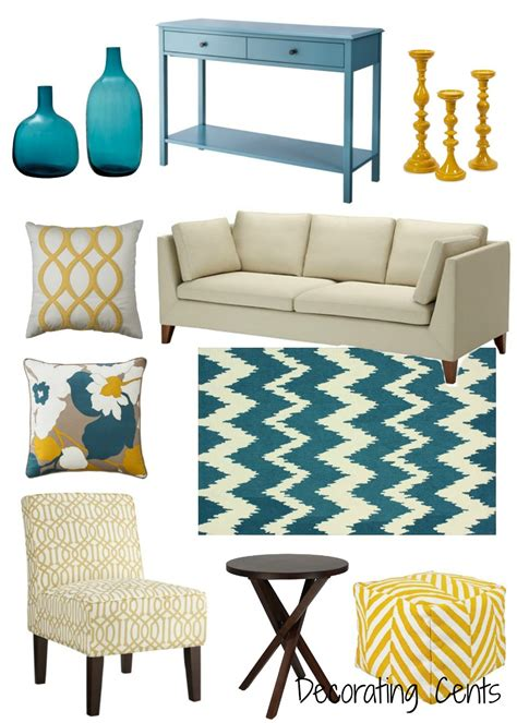 Decorating Ideas For Living Room Teal by Decorating Cents Yellow And Teal Decor In 2019 Teal