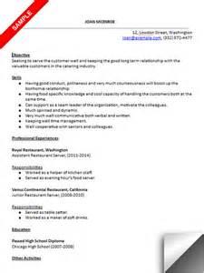 resume for restaurant server restaurant server resume sle