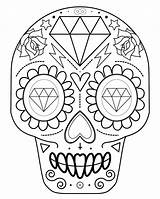 Skull Coloring Sugar Pages Pdf Printable Downloadable sketch template