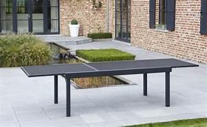 Table De Jardin Aluminium 12 Personnes : salon de jardin aluminium noir pour 12 personnes table ~ Edinachiropracticcenter.com Idées de Décoration
