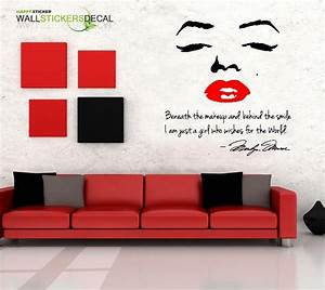 Marilyn monroe wall decal decor quote face red pink lips for Nice white wall decal quotes