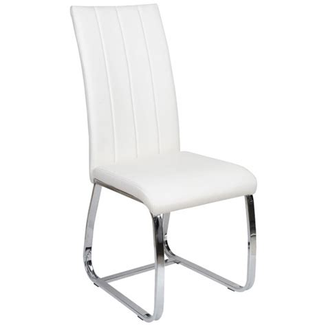 elston dining chair in white faux leather with chrome legs