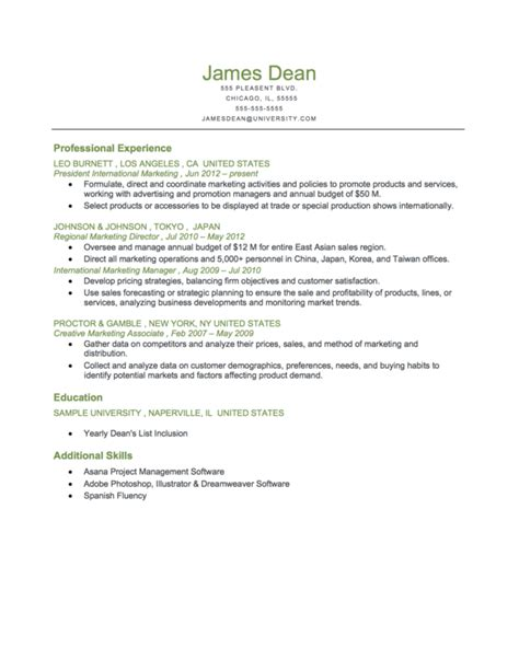 resume education in chronological order