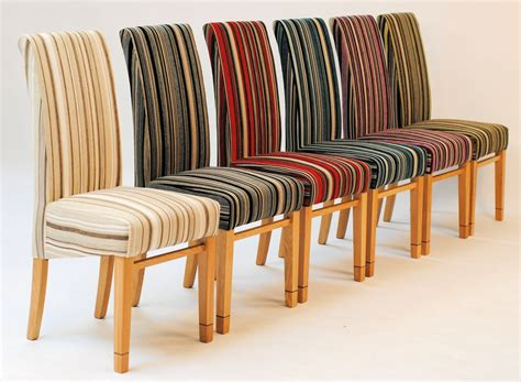 Striped Fabric Dining Room Chairs