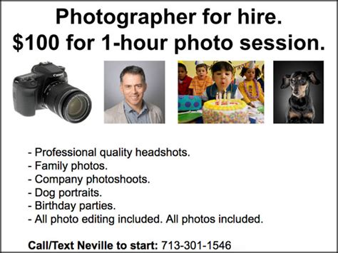 how to start a photography business w templates to copy 611 | craigslist photographer template