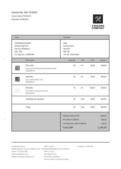 invoice templates  cis subcontractors debitoor