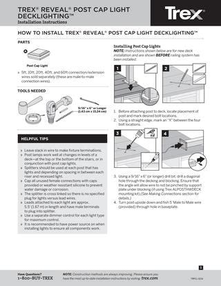 trex lighting installation guide trex reveal lighting post cap install sheet by timbertown
