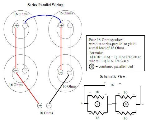 Wireing Diagram Parallel And Series Wiring by 4x12 16ohm Series Parallel Wiring Schematics Coding