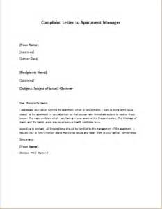 plaint letter to apartment manager