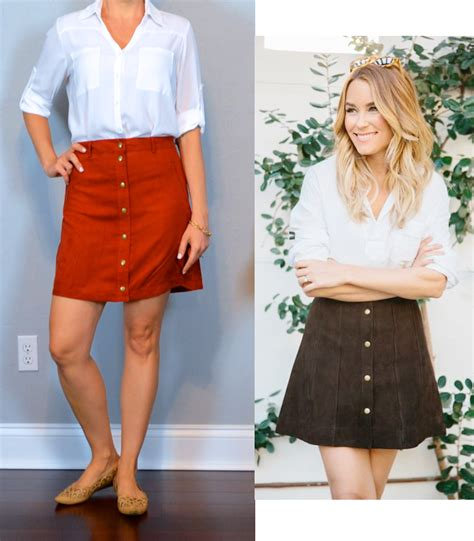 Outfit post white portofino shirt suede rust button front mini skirt nude cutout flats