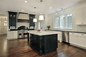 52 dark kitchens with dark wood and black kitchen cabinets With kitchen cabinets lowes with large black and white wall art
