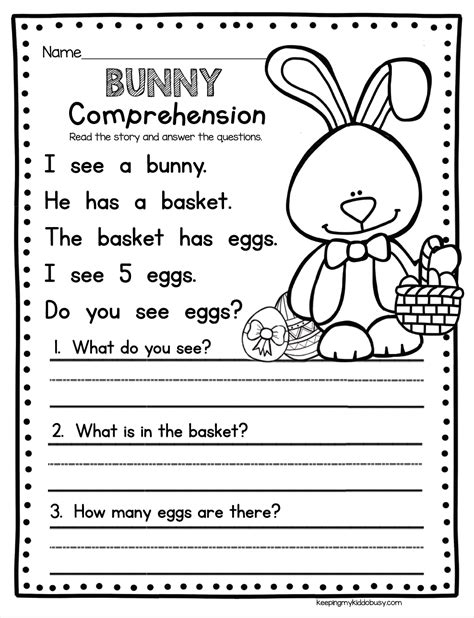 Easter Reading Worksheets For Kindergarten  Kidz Activities
