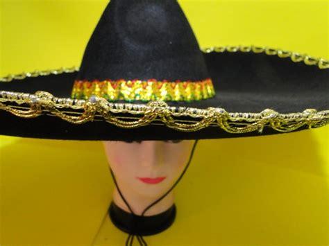 mexicano chapeu apache zorro bordado forte soldado bigode 60cm disfarce preto