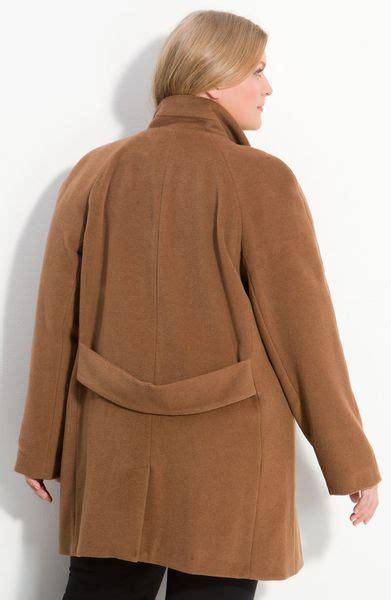 kristen blake raglan sleeve wool blend coat  beige dark