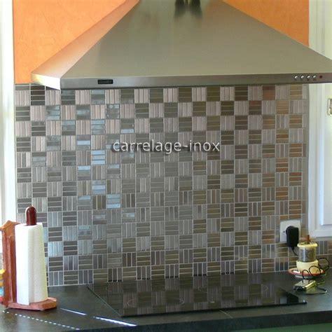 cuisine credence inox mosaïque inox 1m2 crédence cuisine carrelage duplica 48