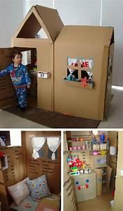 Cabane En Carton À Colorier : cabane en carton 7 papier et carton brico cardboard playhouse diy cardboard et diy for kids ~ Melissatoandfro.com Idées de Décoration