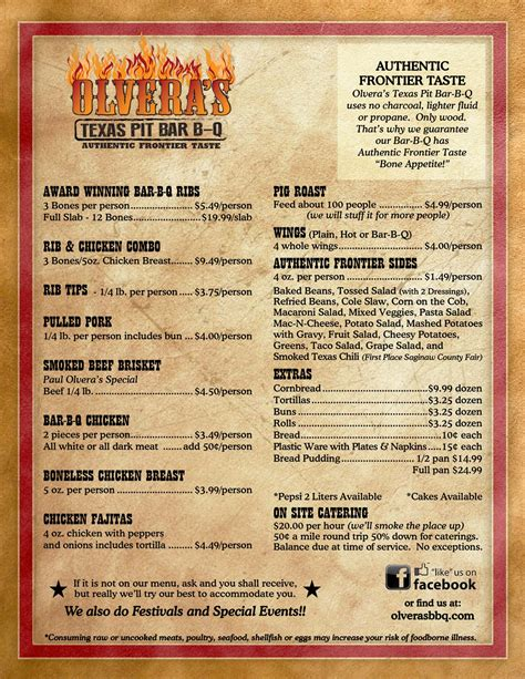Bbq Pit Sinking Menu by Olvera S Pit B B Q Event Catering