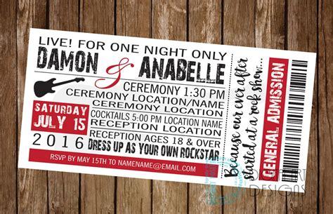 rock  roll concert wedding  birthday invitation