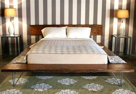 platform bed frame industrial rustic platform bed frame with metal legs Industrial